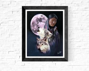 Native American Wall Art Print/Native American Painting Print/Native American Fine Art/Wolf Painting Print/Wolf Art Print/Spiritual Art