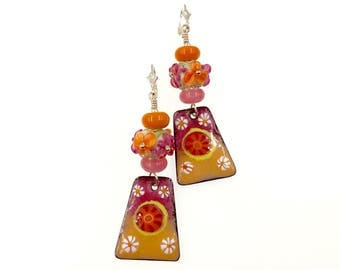 Peach and Raspberry Earrings, Lampwork Earrings, Mustard Enamel Earrings, Gift for Her, Drop Earrings, Glass Bead Jewelry, Artisan Earrings