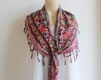 Burgundy Scarf with Tassels and Pearls-Tile Pattern Scarf-Ottoman Print Scarf-Turkish Anatolian Scarf-Burgundy Square Scarf