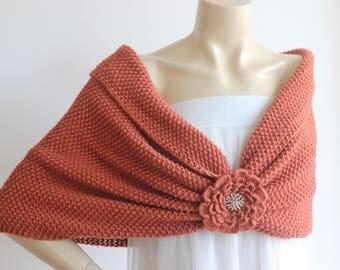 Copper Bridal Capelet / Wedding Wrap Shrug Bolero/Hand Knit  Shawl/ Scarf with Rhinestone-Vegan Cape