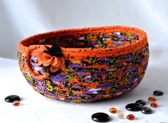Halloween Decoration Basket, SALE... Handmade Halloween Bowl, Fall Decoration, Autumn Decor,  Halloween Bucket,  Fall Orange BAsket
