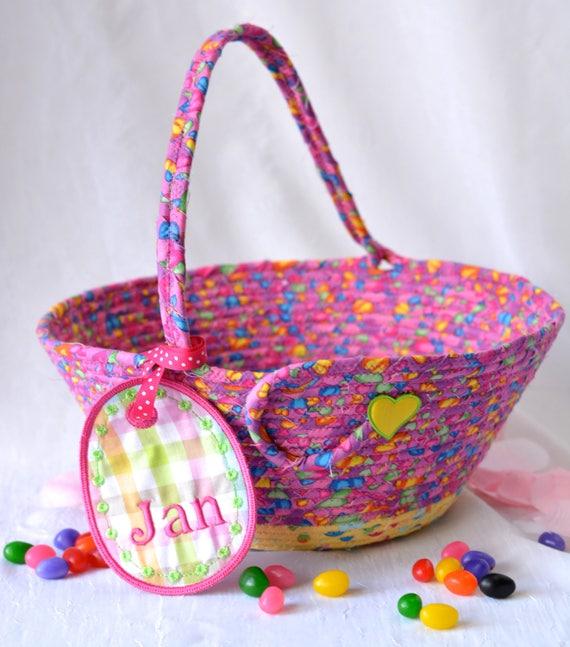 Handmade Easter Basket, Artisan Pink and Yellow Easter Bucket, Keepsake Easter Egg Hunt Basket, Easter Coiled Fabric Bucket,  OOAK