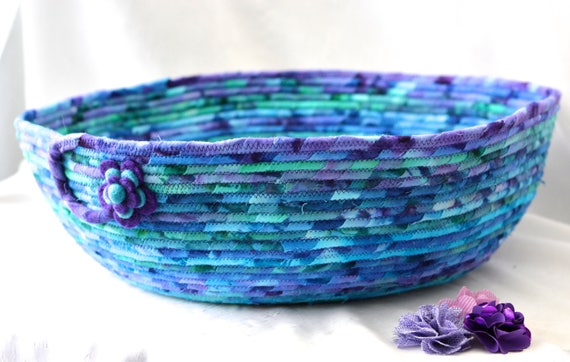 Cozy Cat Bed, Handmade Gift Basket, Hand Coiled Pet Bed, Modern Dog Flannel Bed Furniture, Decorative Purple Fabric Bin