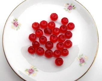 177 set of 10 Red faceted glass beads