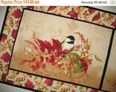 Sale Christmas in July Autumn Table Runner Birds, Fall, Berries and Leaves, handmade, quilted