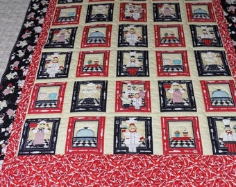 Sale Christmas in July Chef handmade  lap quilt 55 x 70