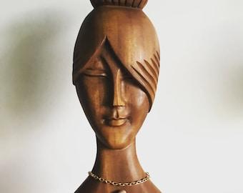 Vintage Wood Carved Woman Bust