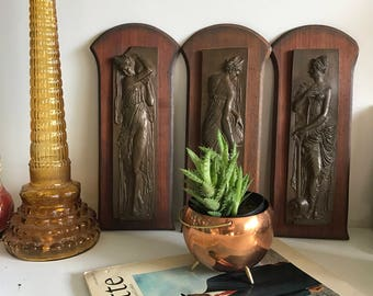 Vintage Wooden Goddess Wall Plaques
