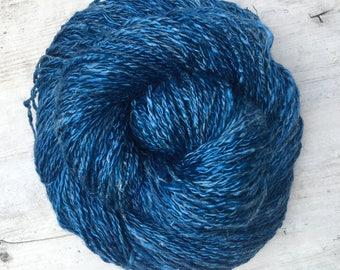 Handspun Naturally Dyed Tencel and Hemp 2-Ply Yarn in Indigo Blue Vegan Raw Silk