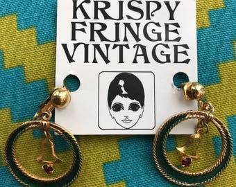 Free Shipping!: 1960's Vintage Green & Gold Clip On Hoops With Bell Detail