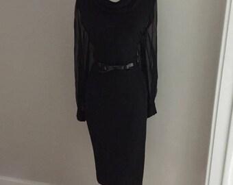 VINTAGE 1960s Black Cocktail Dress / Mad Men Dress / RETRO 60s Wiggle Dress / Audrey Hepburn / Sheer Sleeves / Jackie O / Pin Up Wedding