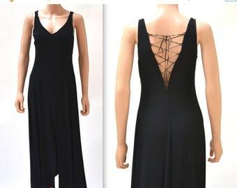 SALE 90s Vintage Black Dress Minimalist Black Lace UP Dress by Marine Sitbon Made in Italy// Vintage 90s Black Tank Dress Sleeveless Small M