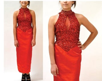 SALE 80s Vintage Red Sequin Dress XS Small// Vintage Red Sequin Evening Gown Dress size prom Dress By Mike Benet SIze Small