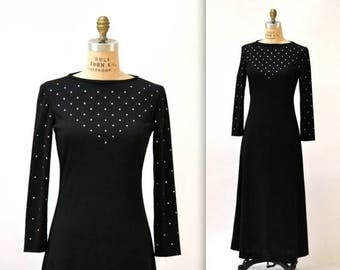 50% OFF SALE Vintage Black Dress Size Medium Maxi Dress with Long Sleeves with Rhinestones// 70s Vintage Black Evening Gown Dress Medium Lon