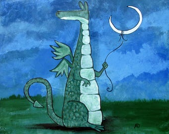 Dragon Original Canvas Nursery Wall Art Moon Fairy Tale Storybook Painting Whimsical Cute Childrens Room Decor Gift Kids Playroom Artwork
