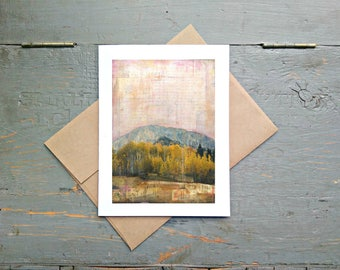 """Mountain Card, 5x7"""" Greeting Card, Mixed Media Card, Recycled Card, Eco-Friendly, Colorado Card, Fall Card, Autumn Card, """"Crested Butte II"""""""