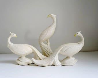 Mid Century Peacock Figurines, Vintage California Pottery,  Stucco Splatter Glaze Peafowl Bird Statues,  Wedding Photo Prop Peacocks