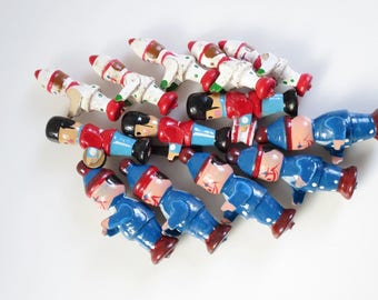 Mini Wood Soldier Figurines, Tiny Craft Pieces, Micro Miniature Craft Lot, Terrarium Dollhouse Fairy Garden Decorations, Craft Lot