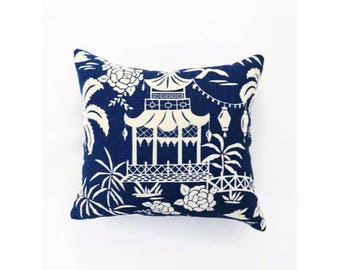 Pagoda Pillow Cover in Blue Linen
