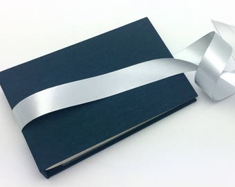 Mini Photo Album, Blue Mohair Cloth with Ribbon Ties, holds 36 4x6 photos, In Stock