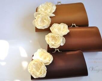 Brown Clutch  with Ivory fowers - Fall Wedding - Bridal Clutch / Bridesmaid clutch / Prom clutch / Cocktail Clutch