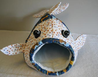 Fish Shaped Cat Bed Cats and Paws Blue