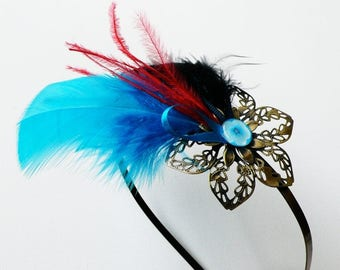 """Serre-tête métallique """"an air of feathers"""" blue, black, red, accessory, hair jewelry hair, feathers"""