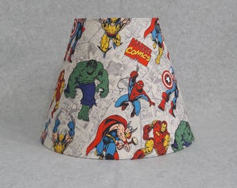 Marvel super hero lamp shade.  Thor, Ironman, Hulk, Captain America, Spiderman, Wolverine