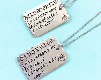 Cynophile Necklace, Dog Jewelry, Pet Gifts, Gifts For Pet Lovers, Ailurophile Jewelry, Cat Necklace, Dog Necklace, Cat Jewelry