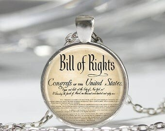 ON SALE United States Bill Of Rights Ten Amendments Constitution Patriotic American Art Pendant in Bronze or Silver with Link Chain Included