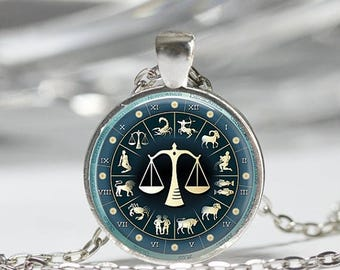 ON SALE Libra Necklace Zodiac Jewelry Scales September October Birthday Astrology Art Pendant in Bronze or Silver with Link Chain included