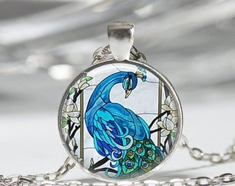 ON SALE Blue Peacock Necklace Bird Jewelry Nature Glass Dome Art Pendant in Bronze or Silver with Link Chain Included