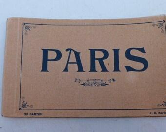 Antique Post Card Album Paris -Vintage 1910s Post Card Set - Paris Post Cards - Post Card Set