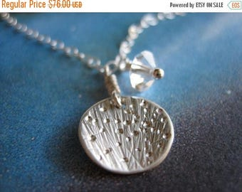 SALE Tiny Starburst Galaxy Sterling Silver Crystal Necklace