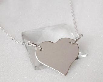 SALE Large Simple Heart Sterling Silver Necklace - Minimal Tiny Silver Heart Pendant Necklace Love Matte Brushed Finish