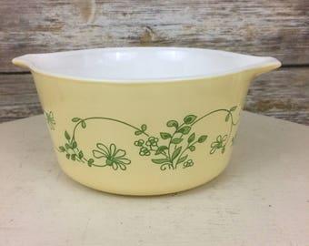 Pyrex Shenandoah 473-B Casserole Dish, Yellow & Green Floral Pyrex, Vintage Pyrex