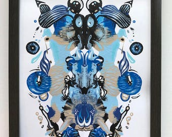 Abstract Painting, Contemporary Art, Modern Art, Psychology, Rorschach, Inkblot, Inkblot Painting, Mask Painting, African Mask, Doctor Gift