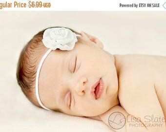 10% SALE Newborn headband, baby headband, adult headband, photo prop The single sprinkled- Leah- stretch headband