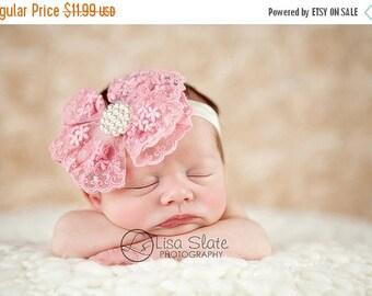 12% off Newborn headband, baby headband, adult headband, photo prop The single sprinkled- PINK Victorian lace bow- stretch headband