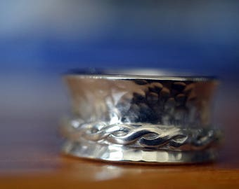 Celtic Spinner Ring, Artisan Made Silver Spinning Ring for Men, Braided Ring, Anxiety Jewelry, Women's Meditation Jewelry, Fidget Ring