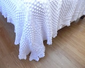 Vintage French Bed Coverlet Hand Knit with Intricate Pattern and Lacy Border
