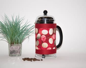 "French Press ""Bean Belt"" Coffee Cozy - ""Satsuki 2"" Red, Bodum Cozy, Cafetiere Cosy, Press Cosy"