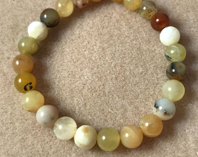 Yellow Opal 8mm Round Bead Stretch Bracelet with Sterling Silver Accent