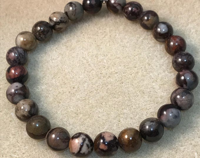 Nguni Jasper 8mm Round Bead Bracelet with Sterling Silver Accent