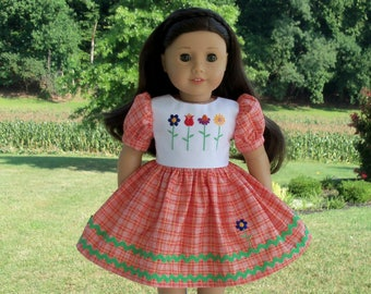 "Embroidered School Dress / Doll Clothes for American Girl® Kit, Melody, Maryellen or Other 18"" Doll"