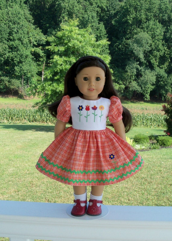 "SUPER SATURDAY SALE!  Embroidered School Dress / Doll Clothes for American Girl® Kit, Melody, Maryellen or Other 18"" Doll"