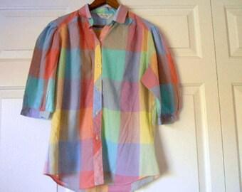 Vintage pastel plaid  retro 70's Blouse