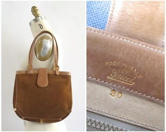 GUCCI Vintage 70s Purse   70s Shoulder  Bag by Gucci   Made in Italy   Soft Tan Suede & Leather Hobo Bag    Hippie, Boho, Bohemian Designer