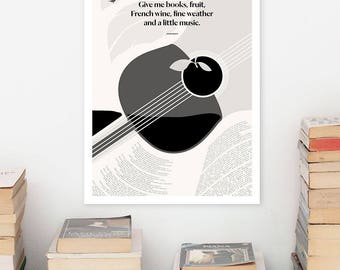JOHN KEATS Books, Large  Literary Art Prints, Minimalist Illustration, Large Wall Art Quote Prints, Book Lover Gift for English Major