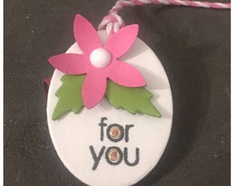 Handmade Gift Tags Pink Flower Green Leaves For You Tiny Petite Tags set of 6